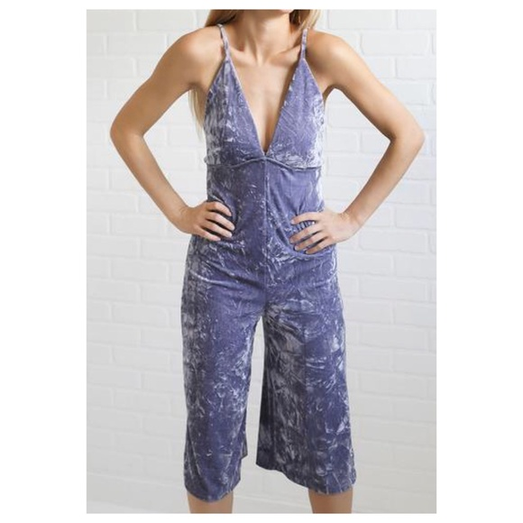 7f68fc098eb9 NWT Audrey 3+1 Purple Velvet Jumpsuit
